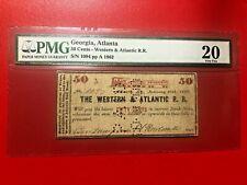 1862 50 CENTS THE WESTERN & ATLANTIC R.R. GEORGIA, ATLANTA PMG 20 VERY FINE