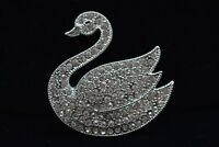 Monet Signed Swan Pin Brooch Silver Rhinestone Crystal Vintage Sparkling Bn7