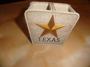 new Lone Star State~TOOTHBRUSH HOLDER~2 slots~TEXAS Gold~Austin~San Antonio