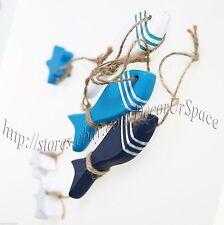 3pcs Wooden Fish Wall Hanging Decoration Beach House Ornament Sealife Idea GIFT