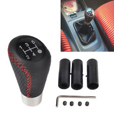 Universal 5 Speed Line Leather Aluminum Manual Car Gear Shift Knob Shifter Lever