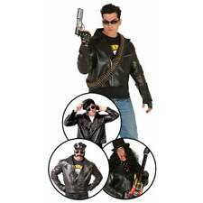 Adult 50s Rock 80s Village Biker Black Leather Jacket Style Fancy Dress Costume