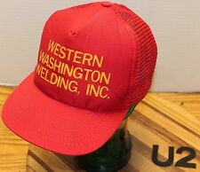 VINTAGE WESTERN WASHINGTON WELDERS TRUCKERS HAT RED SNAPBACK USA MADE     U2 VGC