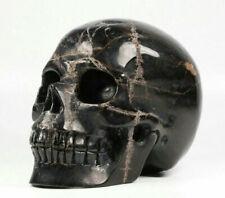 "Huge 5.1"" Black Tourmaline Carved Crystal Skull, Realistic, Crystal Healing"