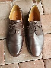 ECCO Men's Brown Leather Lace Up Casual Shoes Size 44 EW Made in Portugal