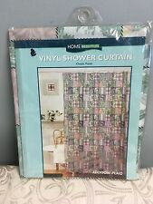 ESSENTIAL HOME ADDISON PLAID VINYL SHOWER CURTAIN NEW PATCHWORK PINK GREEN FLORA