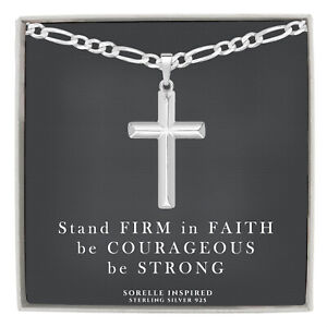 Mens Solid Sterling Silver Cross Necklace with 4mm Italian Figaro Chain Gift