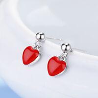 Muye 925 Sterling Silver Red Epoxy Heart Shape Stud Earrings For Women Jewelry