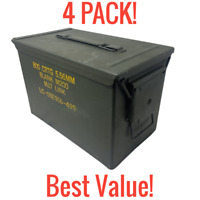 4 PACK! GENUINE MILITARY 50 CAL AMMO CANS M2A1 5.56 EMPTY AMMUNITION FIREPROOF