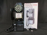 """New! CROSLEY Classic """"1950's"""" Pay Phone in Black Wall Mount"""