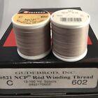 12 Spools GUDEBROD Rod Building Thread NCP ALMOND, Lt Gray, #602 Size C 1200 Yds