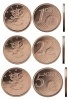 FINLAND  - SET of uncirculated Euro coins 2012 - 1 cent 2 cent 5 cent