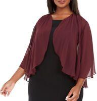 Alex Evenings Womens Jacket Plum Purple Size 1X Plus Bolero Shrug $69- 417