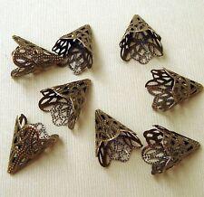 20pcs-Antiqued Bronze Filigree Cone Bead Cap Beadcaps- 20X17mm.