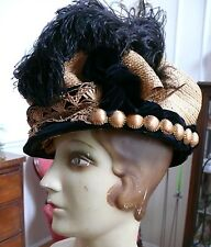 Incredible Rare Hat Edwardian Woven Ornate Straw Hat Art Nouveau Museum Worthy