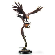 Solid Brass Flying Eagles American Pride Hot Patina Finish Gallery Sculpture