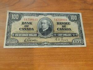 Canada bank note $100 1937 Gordon Towers BC-27b