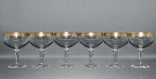 Theresienthal, 6er Satz Sektschalen, Kristall, Goldrand,Handarbeit,  14,0 cm