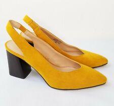Ann Taylor Factory Block Heel Slingback Heels 10M Mustard Yellow