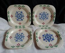 """Set 4 Pfaltzgraff Nordic Christmas Square Plates 6"""" Blue Snowflake Red Green"""
