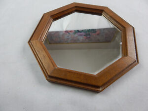 """11.5""""  X 11.5"""" Octagon Wall Mirror with Wooden Frame"""