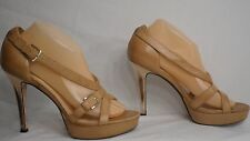 Cole Haan Tan Leather Strappy Gold Stiletto Heel Dress Sandal Women Size 9 B