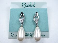 Swarovski Crystals and Pearls 1476 Rachel Rhodium Plated Pierced Earrings with