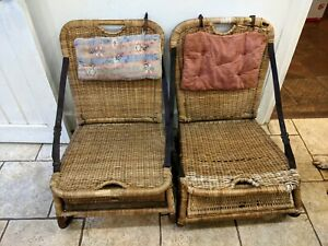 Pair of Rare 1920s Folding Wicker Picnic Chairs