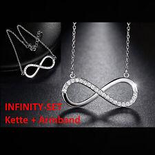 Infinity Eternity Set Kette & Armband Unendlichkeit Ewige Liebe 925 Sterl Silber