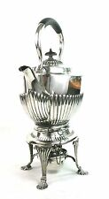 Antique Silver Plated Spirit Kettle Queen Anne Style Ebony Handle c.1910