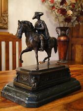 Bronze + Marmor Friedrich der Große Statue Reiter Pferd Antik Edel Figur Fritz