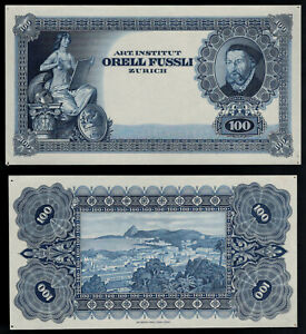 Test Note Orell Füssli Switzerland, intaglio Specimen 1970 FRONT & BACK blue