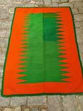 Vintage woven rug, orange and green area rug