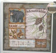Dimensions Stamped Cross Stitch Kit Vintage Lodge NEW mountains bear lake 12x12