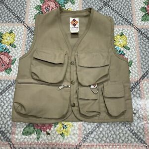 Vintage 70s 80s COLUMBIA Youth Kids Fly Fishing Vest Beige Pockets Boys EUC Fish
