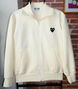 Commes des garcons Play full zip track jacket ivory Heart Embroidered Small top
