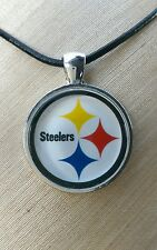 * NFL STEELERS * Glass Pendant with Leather Necklace