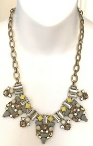 "Beautiful J Crew Rhinestone Bib Necklace Art Deco Grey Yellow 21"""