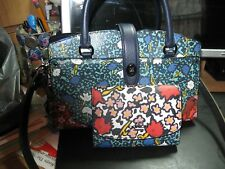 Coach Teal Yankee Floral Leather Satchel Bag and  Wallet included