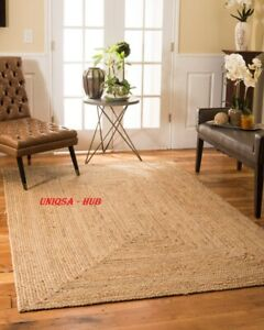 Jute Rug Rectangle 2x6 Feet Runner Rug Braided style Reversible Floor Mat Carpet
