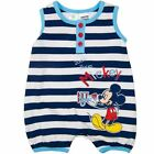 Baby Boys Striped Licensed Mickey Mouse Disney Summer Cotton Romper
