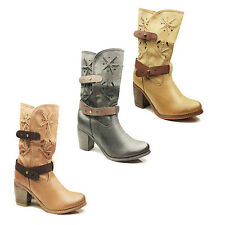 WOMENS CASUAL MID CALF COWBOY STYLE CUBAN HEEL ANKLE BOOTS LADIES SHOES SIZE 3-8