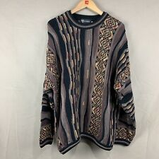 Tundra Canada Vintage Mens XL Coogi-Style Brown Cut and Sew Crew Neck Sweater
