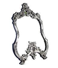 Vtg American Sterling Silver Vanity table top Mirror, raised cherubs, florals