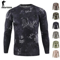 ESDY Mens Combat T-shirt Long Sleeve Typhon Army Military Tactical Casual Camo