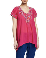 💕NWT! Johnny Was HINGA Cotton V Neck EMBROIDERED Blouse TUNIC Pink M $260 💕