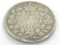 1914 Canada Ten 10 Cent Silver Dime Circulated Canadian George V Coin I516
