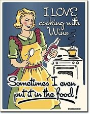 I Love Cooking With Wine.. Funny Metal Sign  410mm x 320mm   (de)