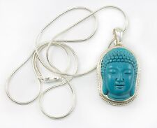 Blue Turquoise Buddha Head Pendant Necklace Large Sterling Silver chain 18