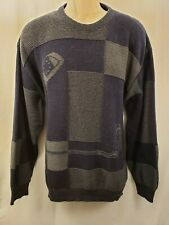 Vintage Pinnacle Mens Long Sleeve Crewneck Golf Sweater Size L Black Grey